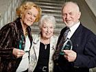 Pictured (left to right): Age UK Internet Champion, Brenda O'Mulloy; actress June Whitfield; and fellow Internet Champion, Keith Patterson.